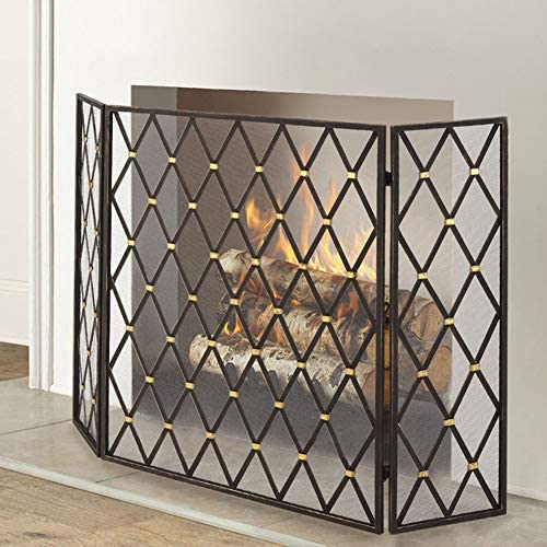 暖炉 スクリーン 錬鉄メッシュ、ブラックアウトドアメタル装飾メッシュカバーソリッドベビーセーフ証明付き3パネルリビングルーム暖炉スクリーン (Color : Black)