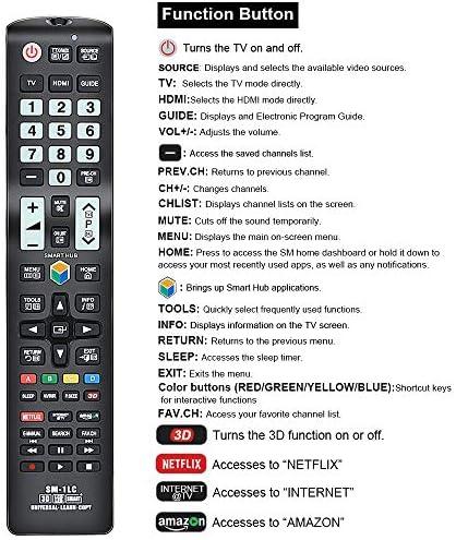 Alkia SM-1LC - Mando a Distancia de Repuesto para Samsung TV/LEARN/3D/LCD/LED/HDTV, Funciona con Todos los televisores Samsung LED/LCD/Plasma (Brilla en la Oscuridad): Amazon.es: Electrónica