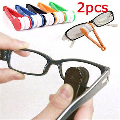 Eyeglasses Cleaner - Color Random 2PCS Mini Portable Glasses Eyeglass Sunglasses Microfiber Cleaner Brush - Eyeglass Cleaner - Francis Super Sunglasses