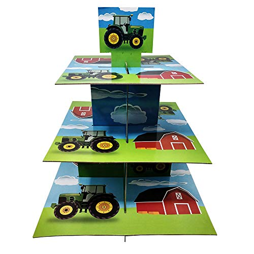 Tractor Cupcake Stand & Pick Kit, Farm Party Supplies, Tractor Decorations, Birthdays, Cake Decorations, Kids Birthdays, 3 Tier Cardboard]()