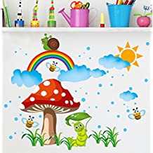 BIBITIME Nursery Baby Graffiti Cloud Notes Message Wall Decal Snail Rainbow Sun Rain Grassland Mushroom Honeybee Caterpillar Art Sticker Vinyl Kids Room Decor