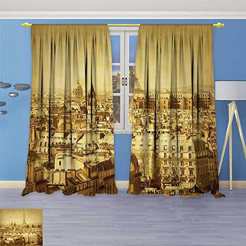 (Philiphome Linen Curtains Decor Collection Classic Photo of Eiffel Tower Paris National Landmark Old Album Memories Print Window Curtain Drapes Set for Living Room)