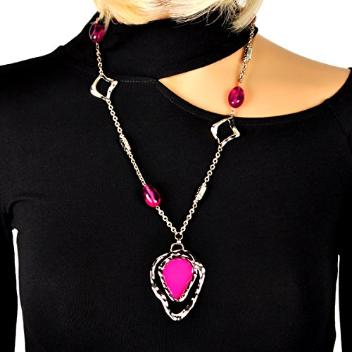Antique Jewelry Antique Platinum Plated with Red Gem Long Necklace Sweater Chain Necklace (Beaded Long Chain Necklace)
