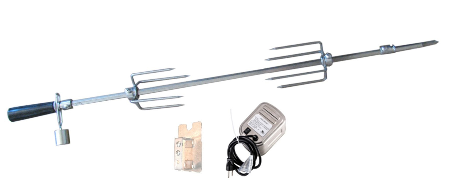 SUNSTONE P-RK-5B 304 SS 5-Piece Rotisserie Kit with Mounting Brackets Burner Grill, 42-Inch