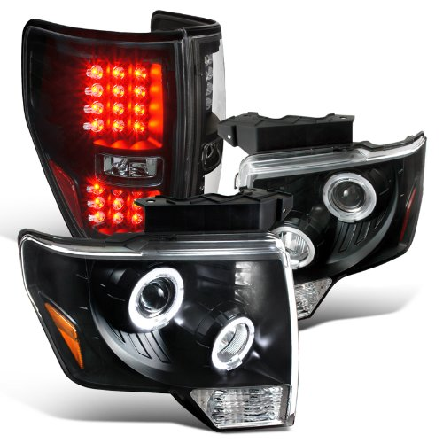 EURO BLACK 09-13 F150 HALO RIM PROJECTOR HEADLIGHTS+FULL LED TAIL BRAKE LAMPS ()