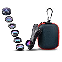 SimpLenz 7 in 1 Clip On Cell Phone Camera Lens Kit | For iPhone 7 6/6S 6S Plus, Samsung Galaxy S7 S6 & Most Tablets | Telephoto, Fish Eye, Kaleidoscope, Wide Angle, X-Wide Angle, CPL, & Macro Lens