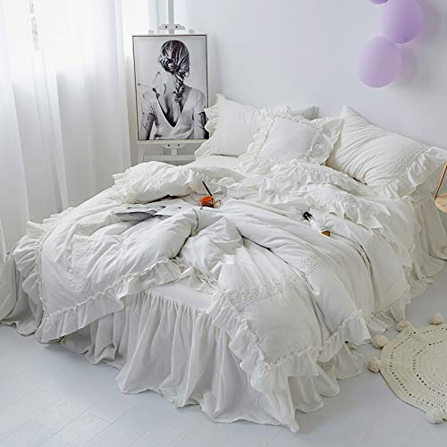 LMHCHK Washed Cotton Shabby Chic Ruffled Duvet Cover Set Quilt Cover Korean Princess Girls Bedding Set Bedskirt Twin Queen King Size,King,220240cm (Sets With Duvet King Bed Skirt)