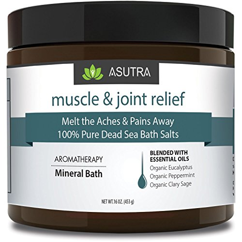 ASUTRA MUSCLE & JOINT RELIEF - 100% Pure Dead Sea Bath Salts/Melt The Aches & Pains Away/Rich In Vital Healing Minerals/Organic Essential Oils of Eucalyptus, Peppermint & Clary Sage - 16oz - Bath Sore Muscles