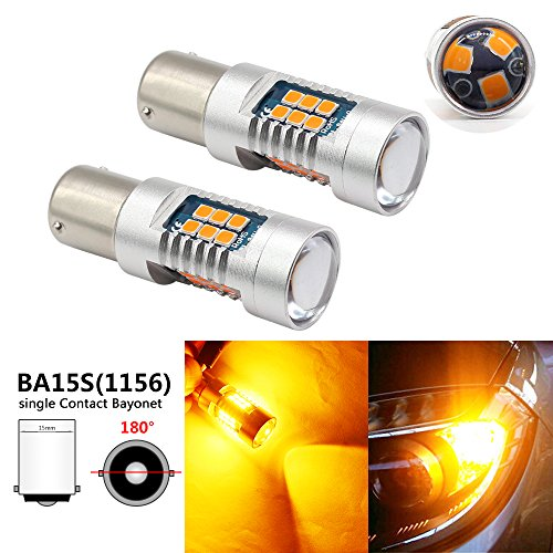 Boodlied 1156 BA15S P21W Led Bulb,1260Lumens 12V~24V 6000K~6500K 3030 21-SMD Chipsets Led Bulbs For Car Turn Signal Tail Brake Light Backup Reverse Lights.2-Pack(Amber/Yellow).