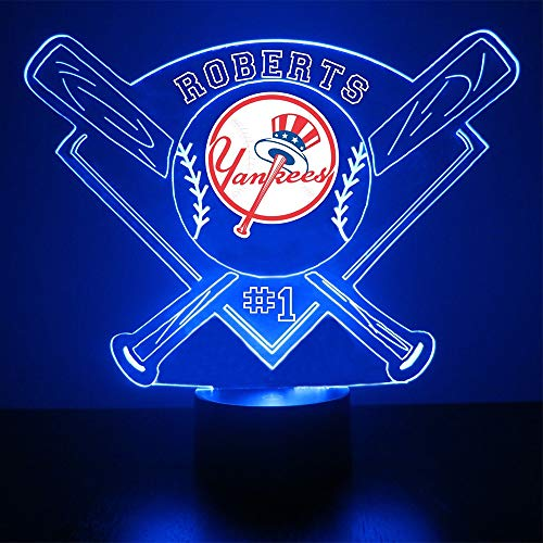 (Mirror Magic Store Yankees Baseball LED Night Light with Free Personalization - New York Night Lamp - Table Lamp - Featuring Licensed)
