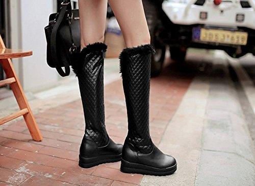 Heel Tall Winter Womens Snow Mid Show Platform Shine Black Boots Warm w1qpaPA