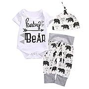 Baby Boys Girls Top Romper Pant Hat Outfits Sleepwear Nightwear Pyjamas Costume (3-6M, Gray+White)