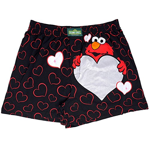 Sesame Street Elmo Mens Boxer Shorts (Small (28-30), Be Mine Black)