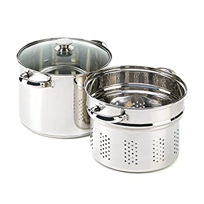 GHP Kitchen 3Pcs Multi-Purpose 8-Quart Pasta Cooker, Stock Pot & Steamer Combo Cookware Set