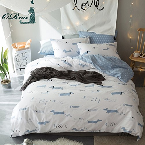 ORoa Soft Cute Cartoon Animal Puppy Dog Bedding Duvet Cover Twin for Kids Boys Girls Cotton 100 Percent, Children Striped Bedding Sets, Reversible Hypoallergenic Lightweight (White Blue, Twin)