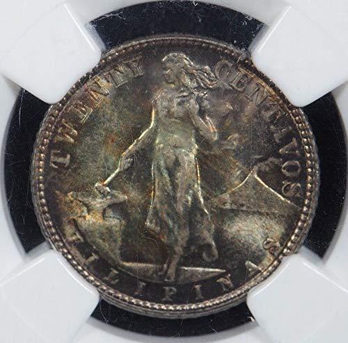 1945 D US Philippines 20 Silver Centavos 20 Centavos MS 66 NGC 20 Centavos Silver Coin