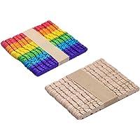 HEALLILY palos artesanales de madera de color palos de paleta de madera palos de hielo para proyectos de artesanía de bricolaje 100 piezas