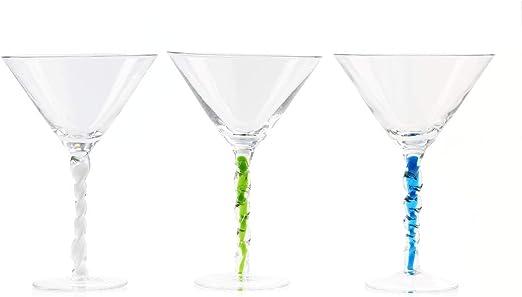 Venetian Martini Glasses 2 Green 2 White Set of 6: Includes 2 Blue IMPULSE