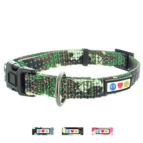 Pawtitas Dog Collar for Small Dogs Camouflage Reflective Training Puppy Collar with Stich - S - Green Camo