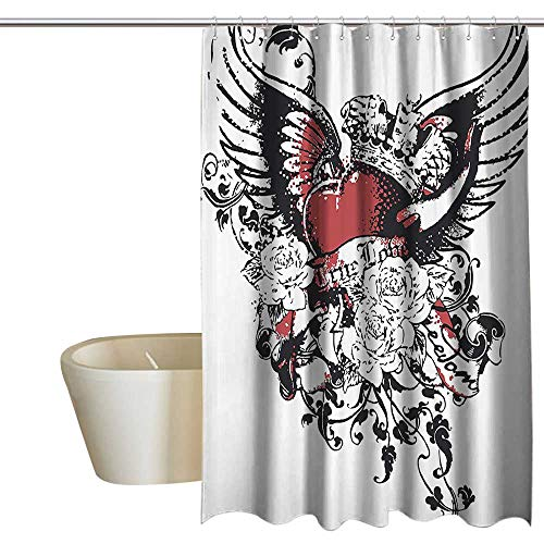 Modern Funny Shower Curtain Tattoo Style Heart Crown with Wings Artictic Love Valentines Gothic Romance Graphic Art Print Polyester W55 x L84 Black Red