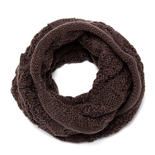 ALLMILL Womens Choked Ribbed Knit Winter Infinity Circle Loop Scarf (Coffee-2)