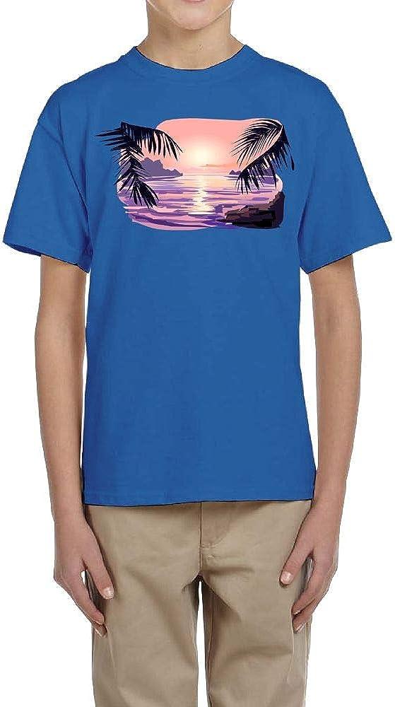 Fzjy Wnx Boys Short Sleeve T-Shirt Crewneck Sunset Seaside Tree