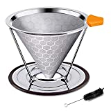 Cheap Premium Stainless Steel Coffee Filter, Reusable Pour Over Coffee Dripper Cone With Non-slip Cup Stand and Brush, Paperless. Honeycomb Design (1-3 Cups)