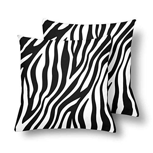 InterestPrint Pillowcase Throw Pillow Covers 18x18 Set of 2, Zebra Stripes Pillow Cases Sham Protector for Home Couch Sofa Bedding Decorative