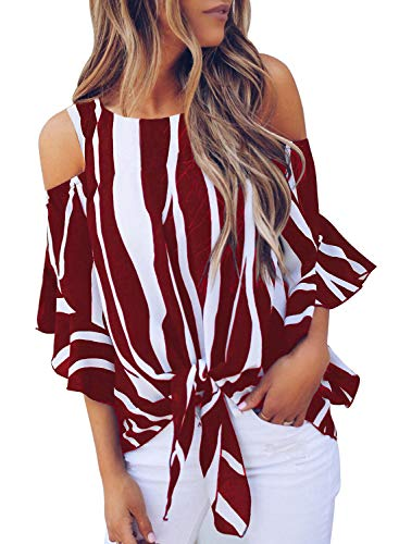 (Asvivid Womens Summer Striped Cutout Cold Shoulder Tops Ruffle Bell Sleeve Chiffon Knot Front Loose Blouses M Red )