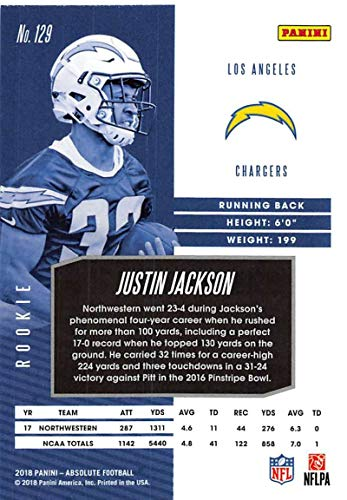Amazon.com  2018 Absolute Football  129 Justin Jackson Rookie RC Rookie Los  Angeles Chargers Official NFL Trading Card made by Panini  Collectibles    Fine ... e90eee554
