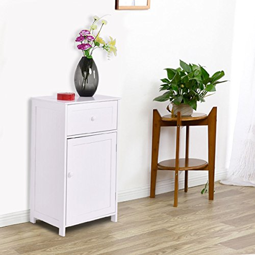 "Tangkula Bathroom Floor Storage Cabinet, Home Living Room Bedroom Sturdy Wooden Modern Side Cabinet Organizer, Storage Cabinet Furniture (30"" with Door & Drawer)"