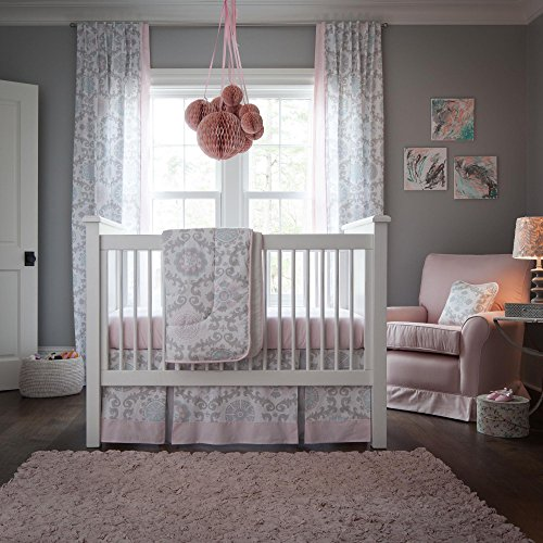 Carousel Designs Pink and Gray Rosa 3-Piece Crib Bedding Set