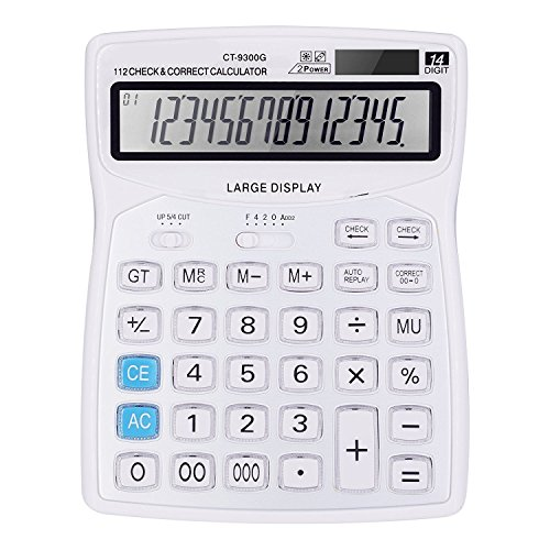 Professional Standard Large Desktop Calculator Office Business  Electronic Calculators With 14 Digit Large Display  Solar And Aa Battery Dual Power White