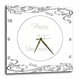 3dRose Print of Elegant Silver 70th Anniversary Greeting Wall Clock, 10 by 10″