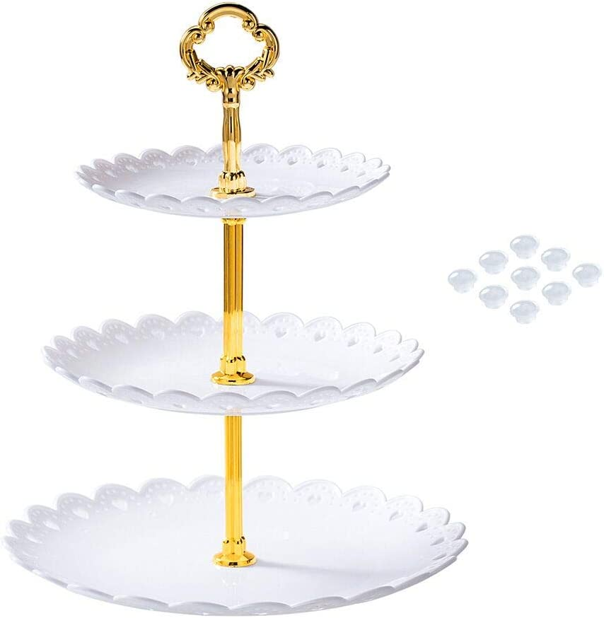 Manspdier White Cupcake Stand for Dessert Table, Will Not Just 3 Tier Serving Tray, Put New Design Button, Elegant Tiered Serving Tray Change to Each Three Serving Trays