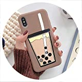 Cartoon 3D Milk Tea Funny Case for Samsung Galaxy A10 A20 A30 A40S A50 A60 A70 A80 M10 M20 M30 Silicon Drink Cup TPU Phone Cover,A2 Core,PearlCup Khaki -  disiren