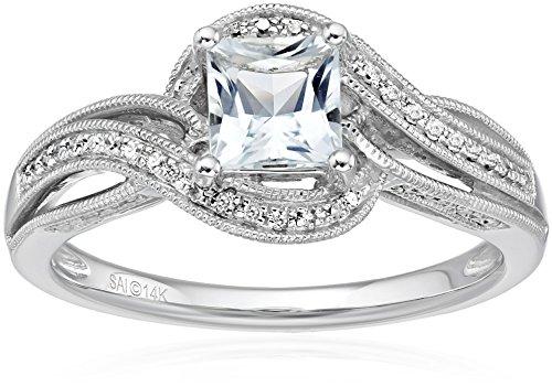 14k White Gold Aquamarine and Diamond Engagement Ring (1/...