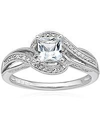 14k White Gold Aquamarine and Diamond (0.25 cttw, H-I Color, I2-I3 Clarity) Engagement Ring, Size 7