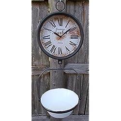 Farmers Market Clock with Hanging Fruit Basket - Vintage Scale Design