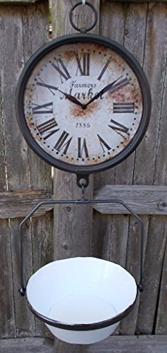 Vintage Glass Fruit - Farmers Market Clock with Hanging Fruit Basket - Vintage Scale Design