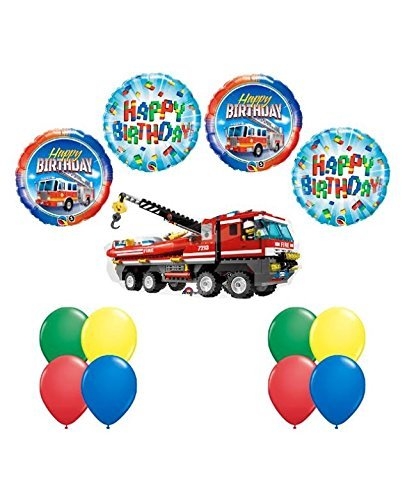 LEGO CITY Fire Engine Firetruck Birthday Party Fire Truck Balloon Decorating Supply 13 pc Kit]()