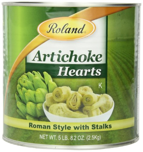 Roasted Hearts Artichoke (Roland Foods Artichoke Hearts, Roman Style with Stalks, 81 Ounce)