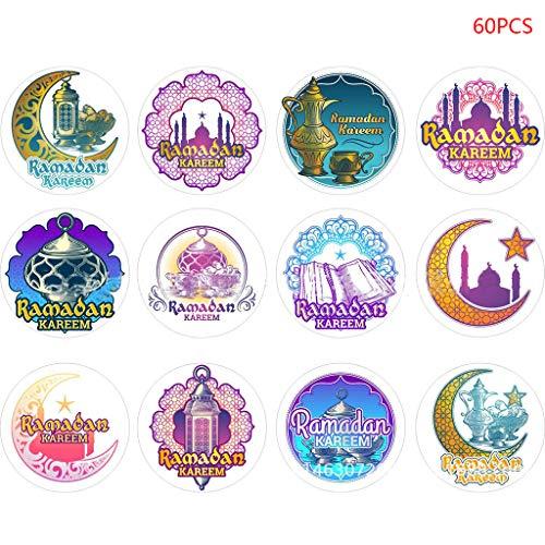 60pcs Eid Mubarak Decoration Paper Handmade Sticker Gift Lable Seal Sticker Islamic Muslim Decoration Ramadan Supplies 100% Brand New And