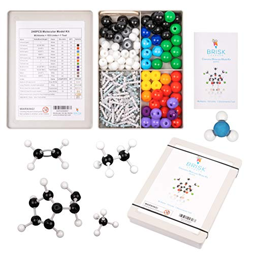 Organic & Inorganic Chemistry Molecular Model Kit (239) Brisk Learner - Kids Toy and Game Gift for Learning Science - School Teacher and Student Molecules Building Set with Guide & Bands Shut Box