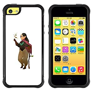 Suave TPU Caso Carcasa de Caucho Funda para Apple Iphone 5C / Cartoon Character Girl Nature Tree Love / STRONG