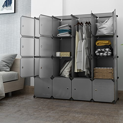 LANGRIA 16 Cube Organizer Stackable Plastic Cube Storage Shelves Design Multifunctional Modular Wardrobe Cabinet with Hanging Rod for Clothes Shoes Toys Bedroom Living Room (Grey)