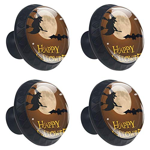Anmarco Happy Halloween Pumpkin Moonlight Wizard Bat Drawer Knobs Pull Handles 30MM 4 Pcs Glass Cabinet Drawer Pulls for Home Kitchen Cupboard ()