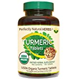 Turmeric Tablets, USDA Certified Organic Turmeric Made by Perfectly Natural Herbs