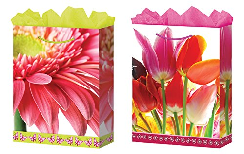 Gift Bags Floral Medium 2 Styles Glossy Finish 12 Count, Fat (Floral Gift Bags)