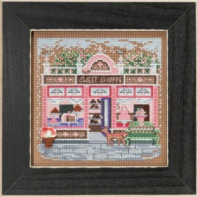 Sweet Shoppe Beaded Counted Cross Stitch Kit Mill Hill 2018 Buttons Beads Spring Main Street Collection MH141812 - Collection Bead Kits